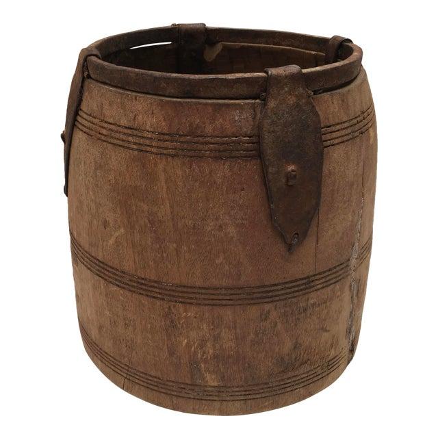Antique Primitive Handmade Wood and Metal Grain Bucket For Sale