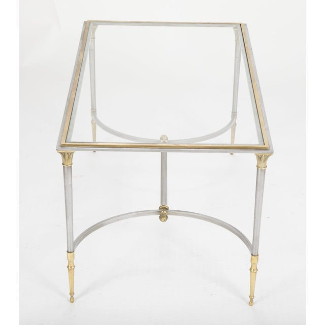 Metal Maison Charles Steel & Bronze Glass Top Coffee Table For Sale - Image 7 of 13