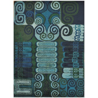 Room Size Vintage Scandinavian Rug - 7′10″ × 11′4″