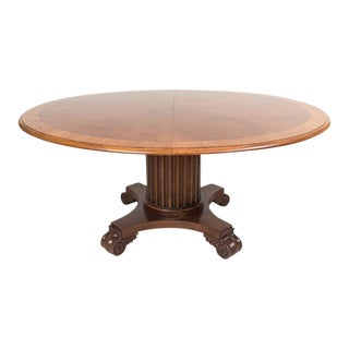 """Victorian Renaissance Revival Walnut 64"""" Round Dining Table & 20"""" Leaf For Sale"""