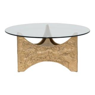 A Brutalist Gilded Aluminium Coffee Table Belgium 1960s For Sale