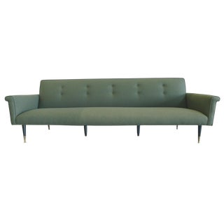 1960s Edward Wormley Style Reupholstered Green Wool Sofa For Sale