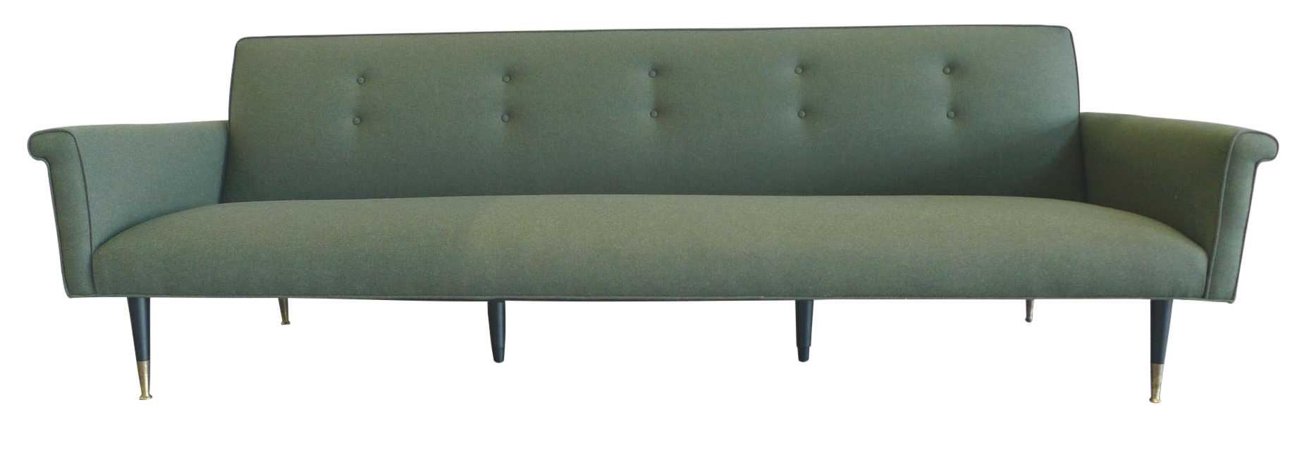 1960s Edward Wormley Style Reupholstered Green Wool Sofa