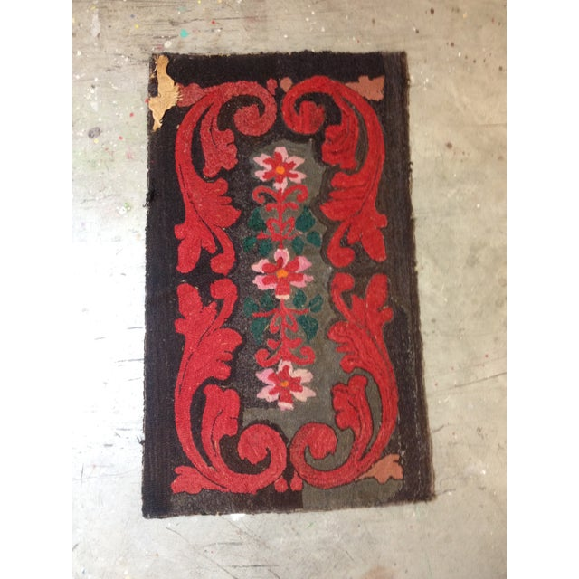 """Stitched Crewel Red & Brown Rug - 2'6"""" x 4'4"""" - Image 2 of 7"""