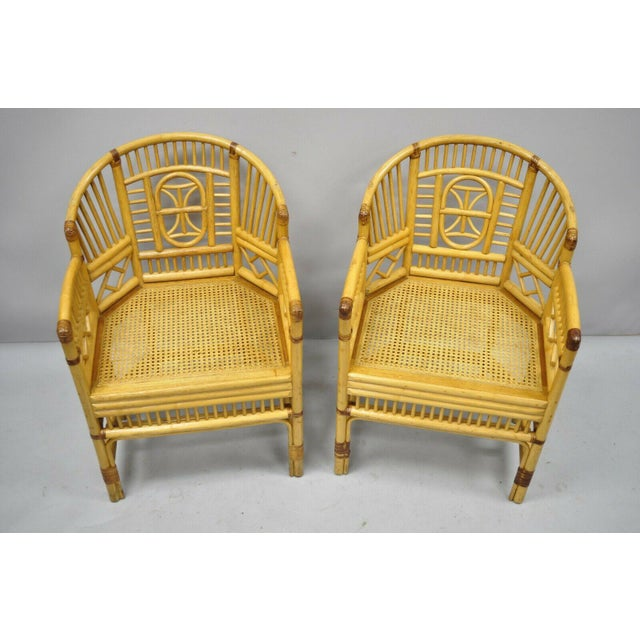 Vintage Brighton Pavilion Style Bamboo & Cane Rattan Arm Chairs- A Pair For Sale - Image 9 of 11