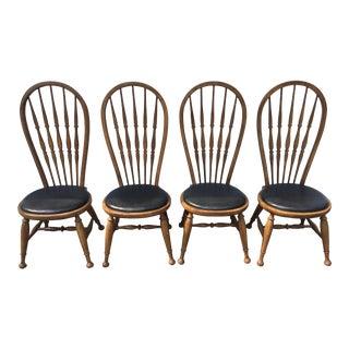 Vintage Oak Hoop Back Chairs - Set of 4