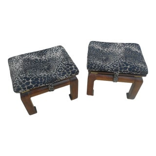 Pair Leopard Print Solid Mahogany Ottoman / Stools For Sale