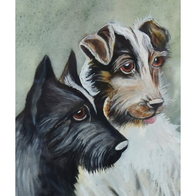 Mid 20th Century Midcentury Watercolor Painting of a Pair of Charming Dogs For Sale - Image 5 of 8