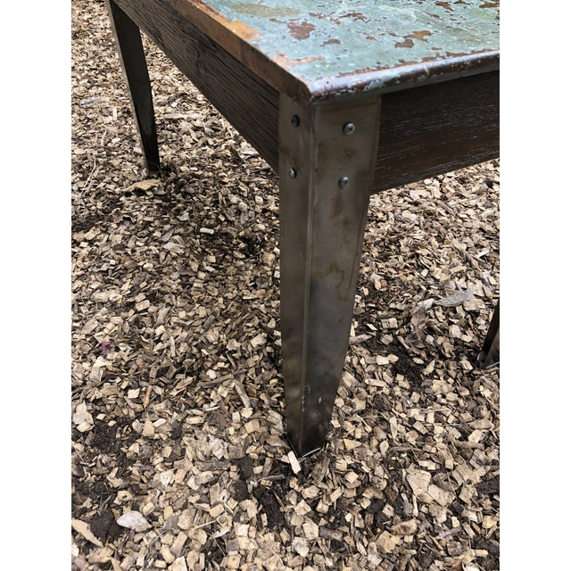 Gray Industrial Distressed Wood Table With Metal Legs For Sale - Image 8 of 13