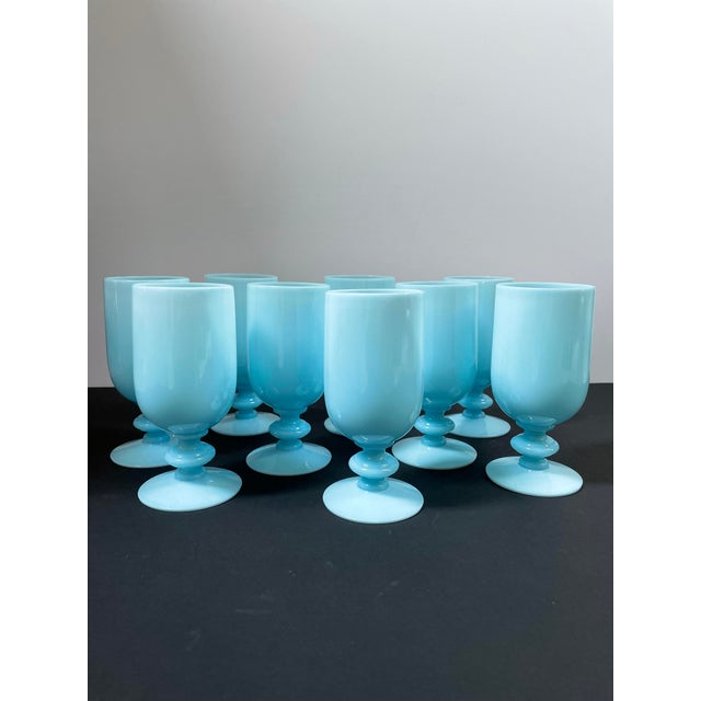 Vintage set of 9 translucent blue low stem glasses made by French glassmaker Portieux Vallerysthal. A rare find! Lovely...