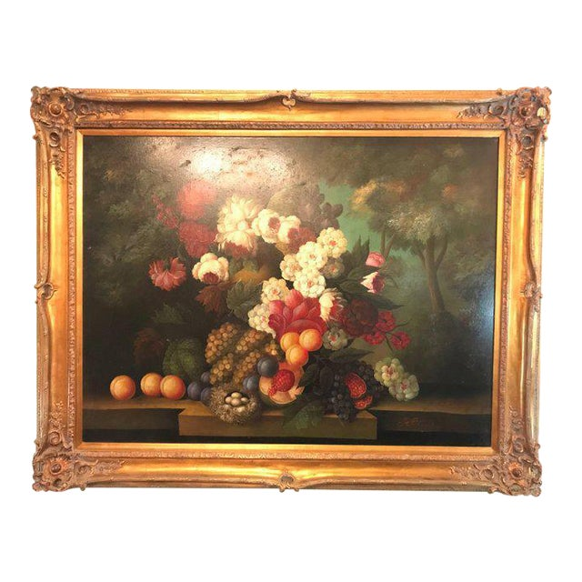 A Palatial Framed Oil On Canvas Still Life Of Flowers For Sale - Image 12 of 12