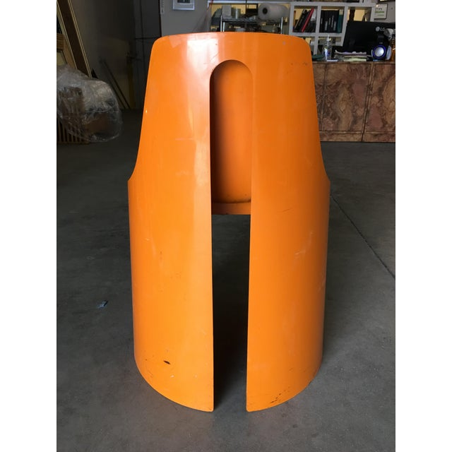 1960s Early Swedish Orange Plastic Stacking Side Chairs by Overman - Set of 4 For Sale - Image 5 of 9