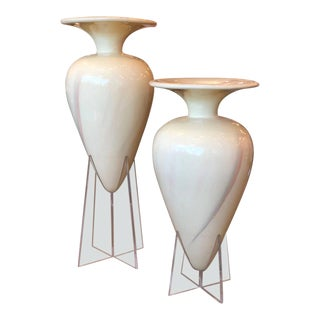 S/2 Late 20th Century Oversized Decorative Fiberglass Floor Urns on Lucite Bases