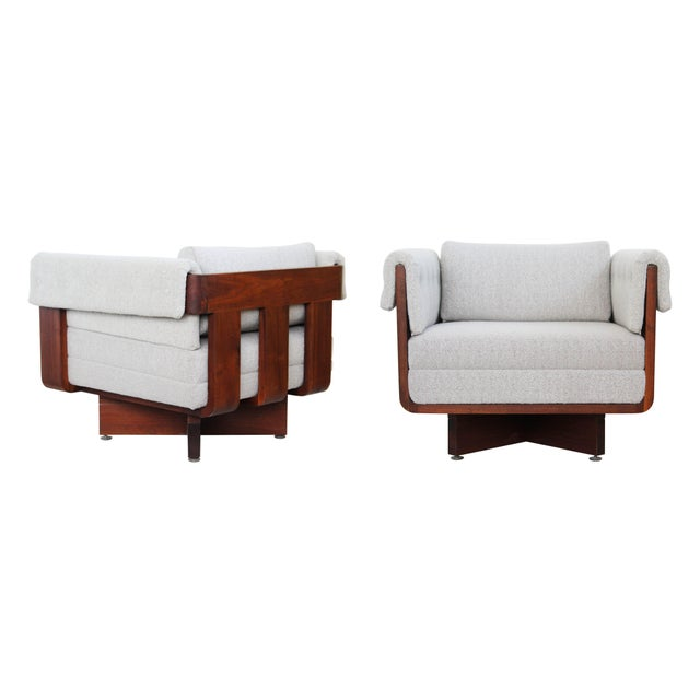 Mid-Century Solid Walnut X-Base Chairs - A Pair - Image 1 of 10