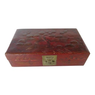 Asian Leather Box For Sale