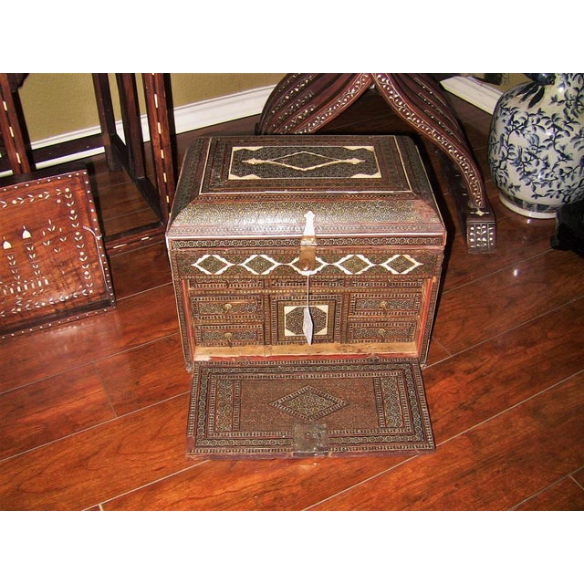 18c Indo Portugese or Persian Vargueno Mini Cabinet For Sale - Image 4 of 13