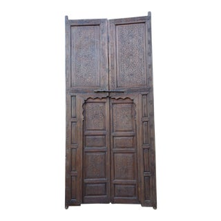 1930s Vintage Moroccan Berber Style Hand-Carved Double Door For Sale