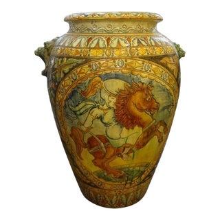 Large 1920's Italian Glazed Terracotta Urn For Sale