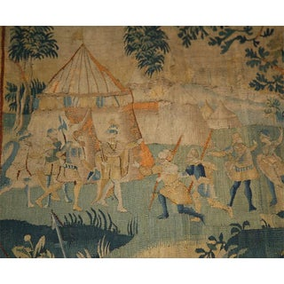 17th Century Flemish Tapestry of Soldiers and Ladies Outside of a Walled City