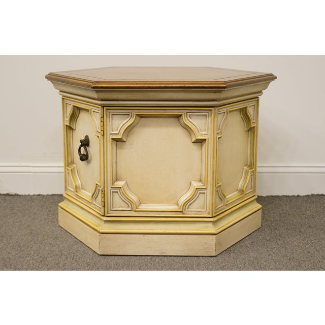 Wood Late 20th Century Vintage Drexel Heritage Siena Collection White Hexagonal Side Table For Sale - Image 7 of 11