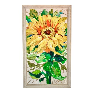 Sunflower Study II Collage Painting For Sale