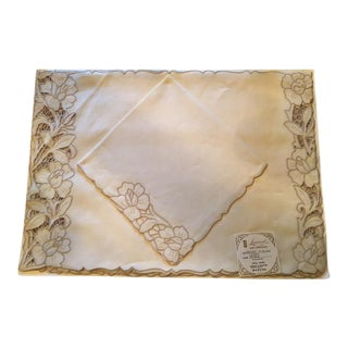 Vintage Linen Embroidered Placemats & Napkins - Set of 8 For Sale