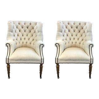 Regina Andrew Transitional Tufted Ivory Clarissa Lounge Chairs Pair For Sale