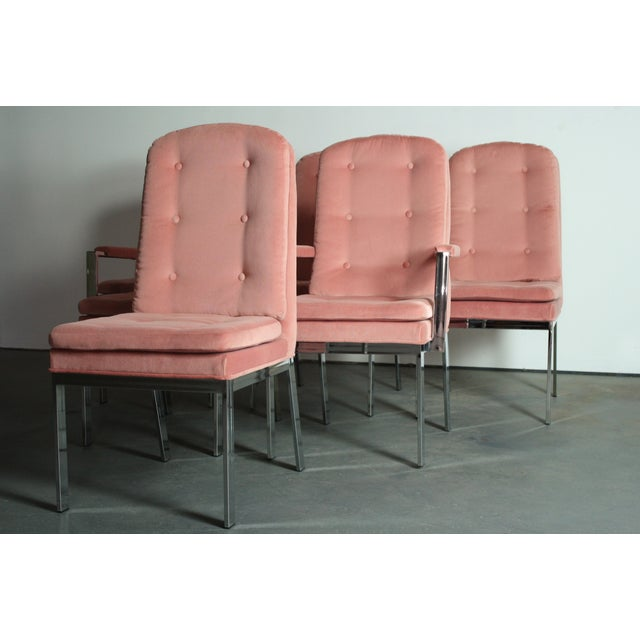 Mid-Century Modern Milo Baughman for DIA Blush Dining Chairs - S/6 For Sale - Image 3 of 12