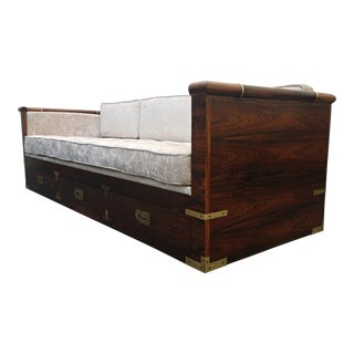 Mid Century Rosewood Campaign Style Case Sofa with Brass Details