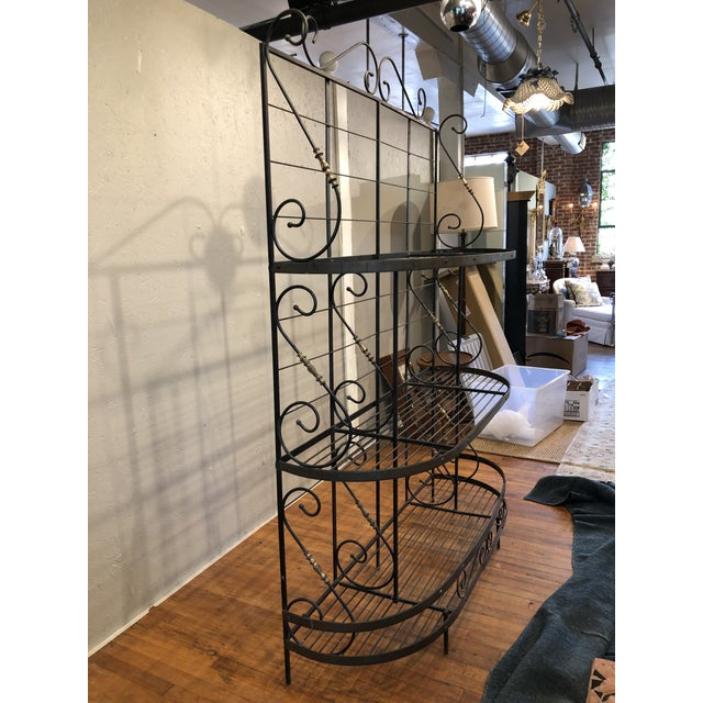 Mid 20th Century Vintage Black and Gold Baker's Rack For Sale - Image 5 of 13