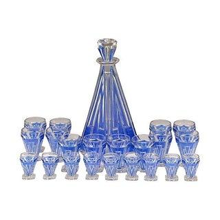 Art Deco Cobalt Enamel Decanter Set - 22 Pcs