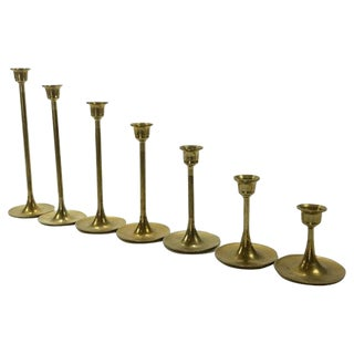 Tulip Fluted Brass Candlesticks - Set of 7