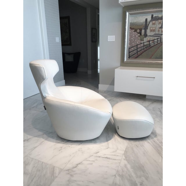 White Edito Modernist White Leather Ottoman by Roche Bobois For Sale - Image 8 of 11