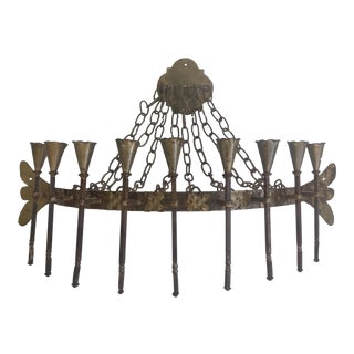 Large Gothic Style Iron Candelabra For Sale