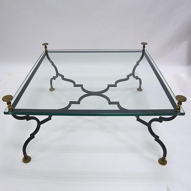 1940s Heavy French Decorative Coffee Table Attributed to Gilbert Poillerat For Sale - Image 5 of 6
