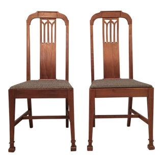 Mission Arts & Crafts Craftsman Wood Chairs With Canvas Seats - Set of 2
