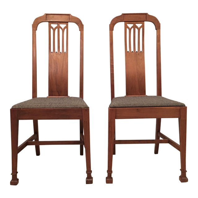 Mission Arts & Crafts Craftsman Wood Chairs With Canvas Seats - Set of 2 For Sale