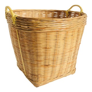 Vintage Medium Woven Plant Basket With Handles For Sale