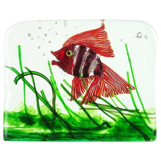 Cenedese Murano Red Purple Silver Flecks Italian Art Glass Fish Aquarium Block For Sale