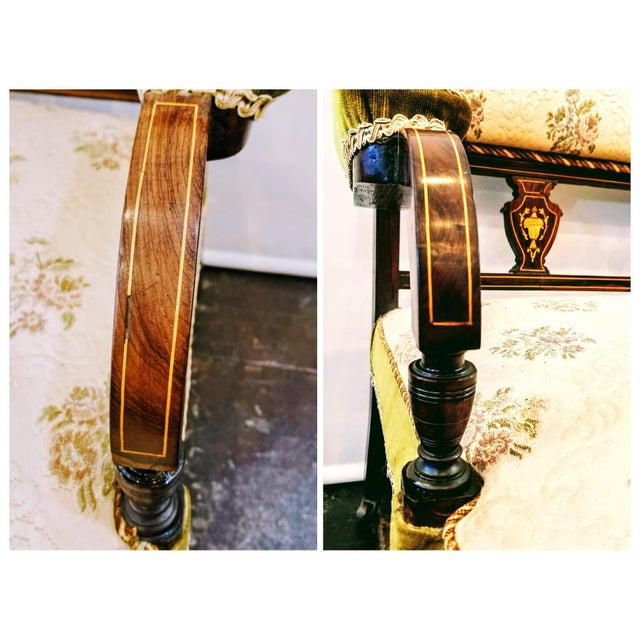 Metal English Edwardian Adam Style Marquetry Salon Settee For Sale - Image 7 of 13