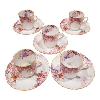 Set of Five Demitasse Cups and Saucers by Spode For Sale