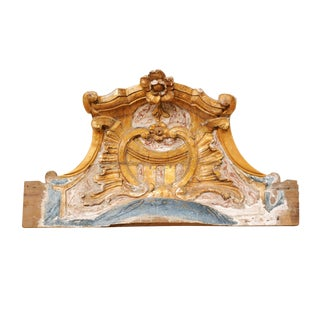 Italian 19th Century Carved, Painted and Gilded Wood Baroque Style Pediment For Sale