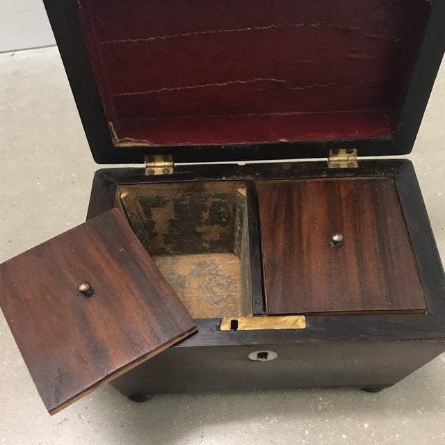 Antique Rosewood Double Caddy Box For Sale - Image 4 of 10