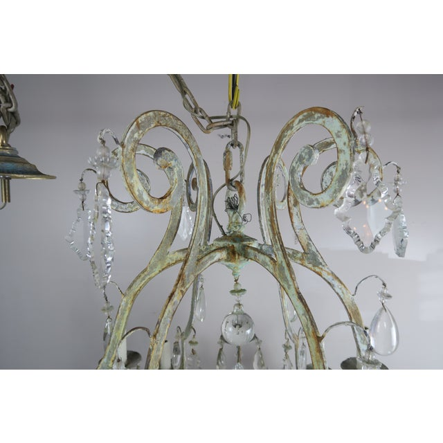 Metal Monumental Painted Wrought Iron Crystal Chandelier For Sale - Image 7 of 11