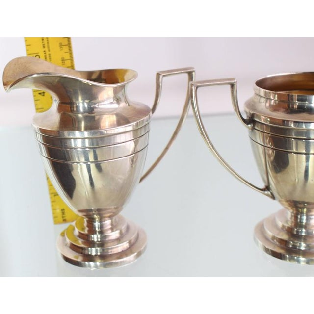 Mid-Century Modern Woodside Sterling Sugar and Creamer Art Deco For Sale - Image 3 of 5