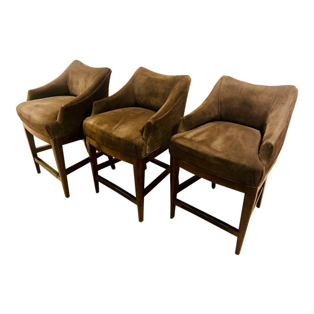 Vanguard Furniture Contemporary Suede Bar Stools -Set of 3 For Sale
