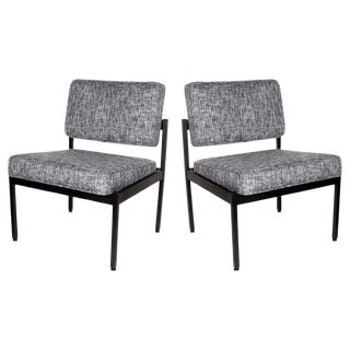Pair of Mid-Century Modern Black Tweed Industrial Knoll Style Chairs, C. 1970s For Sale
