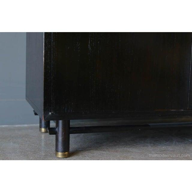 Brass 1970s Hollywood Regency Baker Ebonized Cabinet For Sale - Image 7 of 8