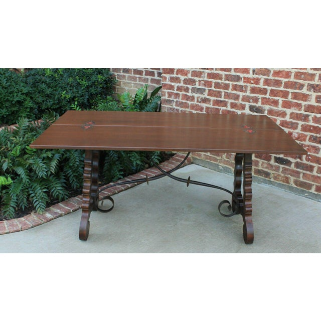 Early 20th Century Antique French Spanish Walnut Mission Catalan Dining Table Sofa Table For Sale - Image 5 of 13