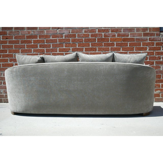Down Filled Silver Velvet Sculptural Sofa - Image 4 of 9